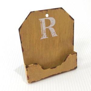 "Business Card Holder Rustic Farmhouse ""R"" Metal"